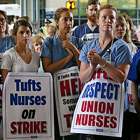 (Boston, MA - 7/12/17) Nurses and supporters listen to speakers during the nurses strike outside Tufts Medical Center, Wednesday, July 12, 2017. Staff photo by Angela Rowlings.