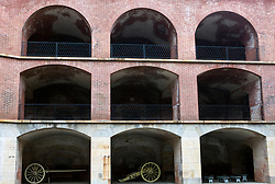 Arched brick portals with canons stored, Fort Point National Historical Park, San Francisco, California