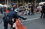 Protesters and police during the Republican Convention in Manhattan, NY. 8/29/2004