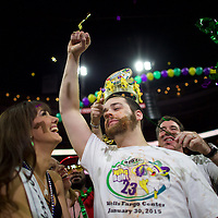 "Patrick ""Deep Dish"" Bertoletti ate 444 chicken wings to defeat defending champion Molly Schuyler to win Wingbowl and a $10,000 prize on January 30, 2015 at the Wells Fargo Center in Philadelphia, PA.  In its 23rd year, and considered the premier competitive eating contest, contestants eat as many spicy chicken wings as possible.  There's a parade of colorful costumes and wingette cheerleaders before the event.  The sold old event of 20,000+ spectators starts at 6am with the winner taking home a $10,000 prize. REUTERS/Mark Makela (UNITED STATES)"