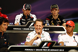 10642865  <br /> Michael Schumacher (C ) during a press conference at the Monaco Grand Prix, Wednesday May 23, 2012. Photo by imago/i-Images<br /> File Photo - Michael Schumacher 'no longer in a coma and has left Grenoble hospital' says his manager. Photo filed Monday June 16 2014.