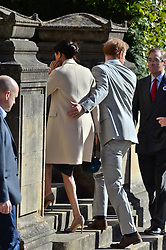 © Licensed to London News Pictures. 03/10/2018. London, UK. Prince Harry, Duke of Sussex and Meghan, Duchess of Sussex meet members of the public outside Edes House, Chichester, Sussex. Photo credit: Ray Tang/LNP