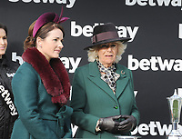 National Hunt Horse Racing - 2020 Cheltenham Festival - Wednesday, Day Two (Ladies Day)<br /> <br /> HRH Camilla, Duchess of Cornwall and Katie Walsh present the trophies to the Winner, Harry Skelton on Politologue in the 15.30 Betway Queen Mother Champion Steeple chase (Grade 1), at Cheltenham Racecourse.<br /> <br /> COLORSPORT/ANDREW COWIE