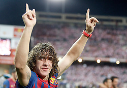 25.05.2012, Vicente Calderon Stadion, Madrid, ESP, Kings Cup Finale, FC Barcelona vs Athletic Bilbao, im Bild Barcelona's Carles Puyol celebrates // during the Spanish Kings Cup final match between Fc Barcelona and Athletic Bilbao at the Vicente Calderon Stadium, Madrid, Spain on 2012/05/25. EXPA Pictures © 2012, PhotoCredit: EXPA/ Alterphotos/ Alvaro Hernandez..***** ATTENTION - OUT OF ESP and SUI *****