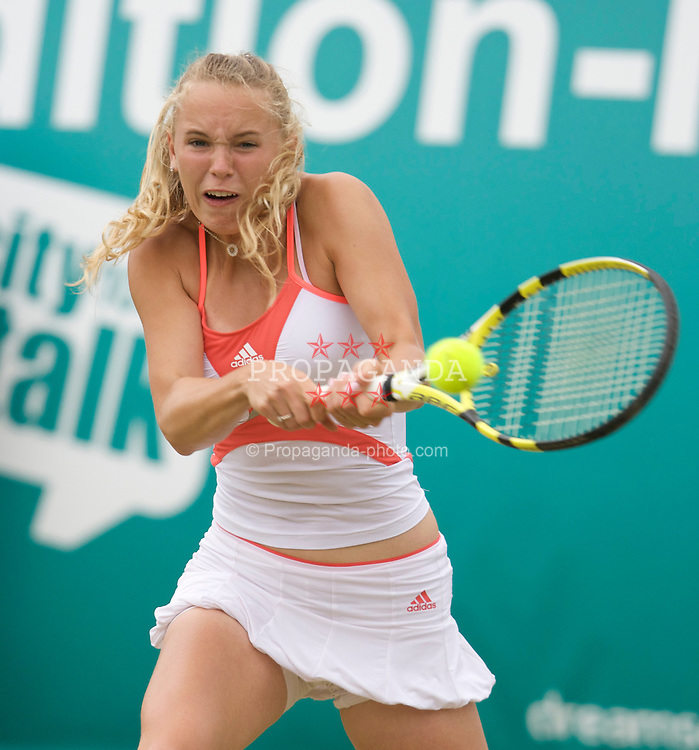 LIVERPOOL, ENGLAND - Wednesday, June 11, 2008: Caroline Wozniacki (DEN) in action during the Womens' Singles on Day Two of the Tradition-ICAP Liverpool International Tennis Tournament at Calderstones Park. (Photo by David Rawcliffe/Propaganda)