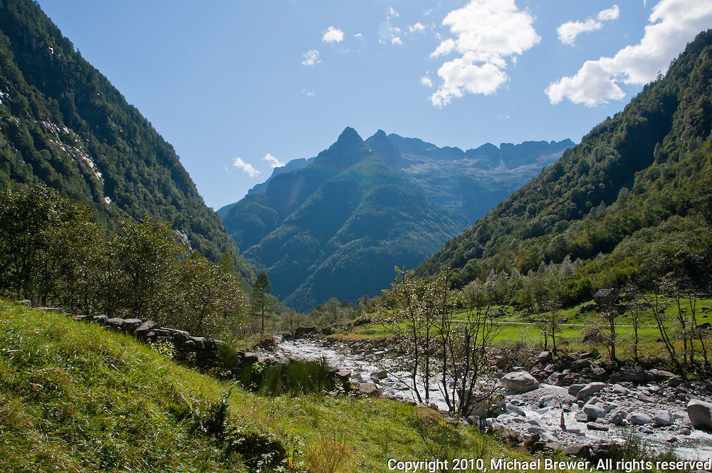 Beautiful, tranquil, valley panorama in Valle Verzasca, Ticino, Switzerland.