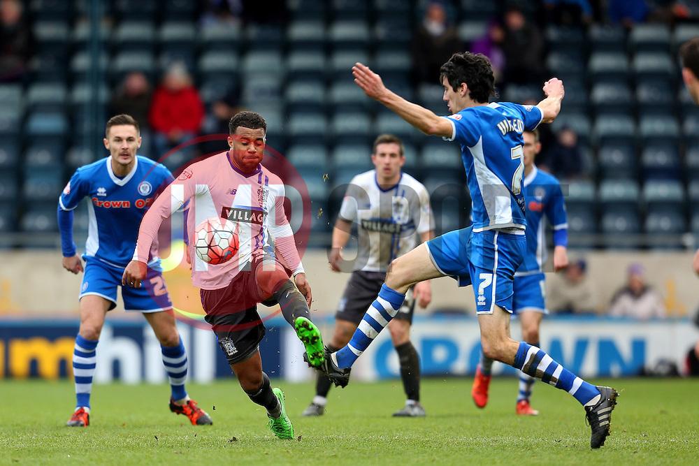 Tom Soares of Bury is challenged by Peter Vincenti of Rochdale  - Mandatory byline: Matt McNulty/JMP - 06/12/2015 - Football - Spotland Stadium - Rochdale, England - Rochdale v Bury - FA Cup