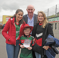Ciara Hurst, with Jude, Molly and PJ McHale from Belmullet on their way to McHale Park<br />
