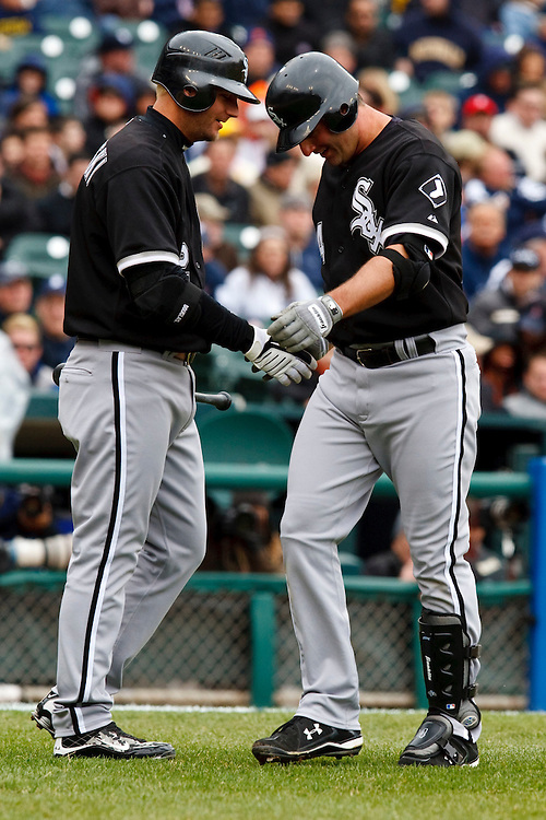 April 13, 2009:   #14 Paul Konerko of the Chicago White Sox congratulates #14 Paul Konerko of the Chicago White Sox for hitting a home run in action during the MLB game between Texas Rangers and Detroit Tigers at Comerica Park, Detroit, Michigan. White Sox defeated the Tigers 10-6 (Credit Image: © Rick Osentoski/Cal Sport Media)