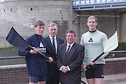 London. United Kingdom. Aberdeen Asset Management, announce, they are to sponsor the Annual Varsity Boat Race - between Oxford University BC and Cambridge University BC. at Tower Bridge. [Mandatory CreditPeter Spurrier/Intersport-images]  25.11.1999..People: Cambridge President, Brad CROMBIE, Oxford President Charlie HUMPHRIES, Martin GILBERT,  Chief Executive Aberdeen Asset Management, and Boat race Representative Duncan CLEGG Boat Race Organiser. ..Rowing Varsity 2012 011046.jpg..Scanned in 2012 so has 2012 file No.