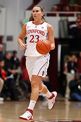 February 26, 2011; Stanford, CA, USA;  Stanford Cardinal guard Jeanette Pohlen (23) dribbles up court against the Oregon Ducks during the first half at Maples Pavilion.
