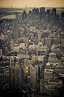The Financial District and Flatiron Building as seen from the top of the Empire State Building in midtown Manhattan, New York, USA.