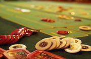 Deutschland Germany Hessen.Hessen, Wiesbaden.Spielbank (Spielcasino) im Kurhaus, Jetons auf Roulettetisch., Casino Wiesbaden, roulette table...