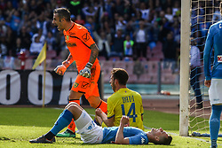 April 8, 2018 - Naples, Italy - Arkadiusz Milik (SSC Napoli) AND Stefano Sorrentino (Chievo Verona)..during the Italian Serie A football SSC Napoli v Chievo Verona at S. Paolo Stadium..in Naples on April 08, 2018  (Credit Image: © Paolo Manzo/NurPhoto via ZUMA Press)