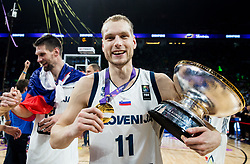 Jaka Blazic of Slovenia celebrating at Trophy ceremony after winning during the Final basketball match between National Teams  Slovenia and Serbia at Day 18 of the FIBA EuroBasket 2017 when Slovenia became European Champions 2017, at Sinan Erdem Dome in Istanbul, Turkey on September 17, 2017. Photo by Vid Ponikvar / Sportida