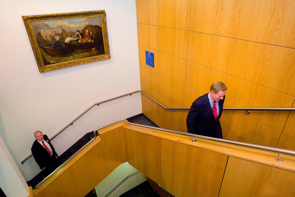 Enda Kenny T.D. followed by Michael Ring T.D. makes his way up the stairs to the County registrar to get his nomination put forward for election for the constituency of Mayo at Mayo County Courthouse, Castlebar. Pic: Michael Mc Laughlin
