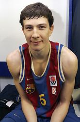 Vlado Ilievski of Barcelona in wardrobe after the Euroleague basketball match between KK Union Olimpija and Barcelona, on November 11, 2004, in Hala Tivoli, Ljubljana, Slovenia. (Photo By Vid Ponikvar / Sportida.com)