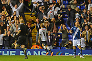 Johnny Russell celebrates the equaliser during the Sky Bet Championship match between Birmingham City and Derby County at St Andrews, Birmingham, England on 21 August 2015. Photo by Alan Franklin.