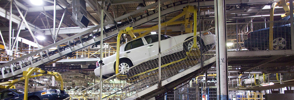 London, ONT.: September 8, 2011 -- A Crown Victoria's makes its way through the production line at Ford's St. Thomas, Ontario Assembly plant during one of the final shifts at the plant September 8, 2011. The plant is scheduled to scheduled to wrap up production of the vehicle on September 15, 2011.<br />  (GEOFF ROBINS for National Post)