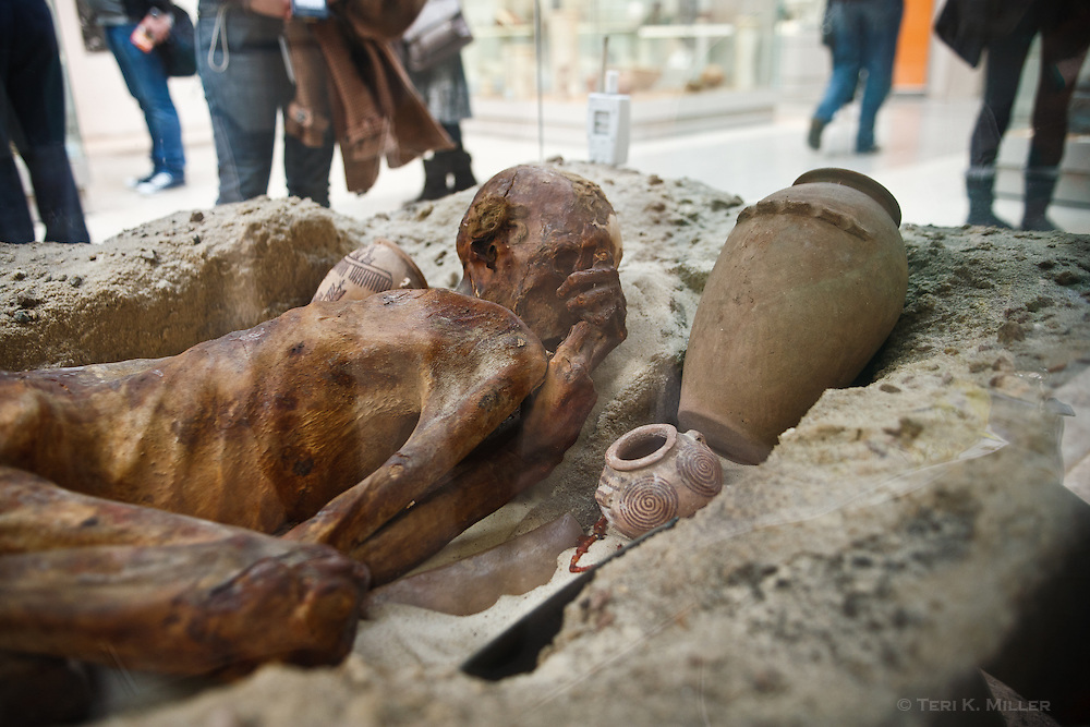 A body that has been preserved in the Egyptian desert rests at the British Museum, London, England.