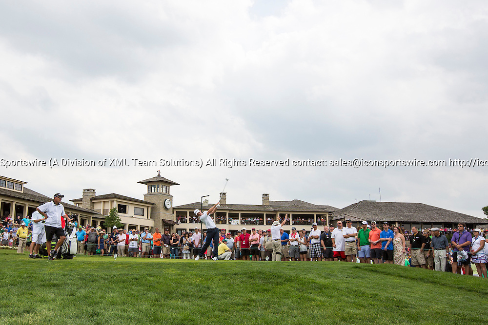 June 7, 2015:  Justin Rose tees off on the 10th hole during the final round of the Memorial Tournament presented by Nationwide Insurance held at Muirfield Village Golf Club in Dublin, Ohio.