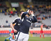 Dundee&rsquo;s Kane Hemmings celebrates after scoring the winning goal - Partick Thistle v Dundee, Ladbrokes Premiership at Firhill<br /> <br /> <br />  - &copy; David Young - www.davidyoungphoto.co.uk - email: davidyoungphoto@gmail.com