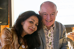 Jfoodo, the Three Wine Men - Olly Smith, Oz Clarke and Susy Atkins standing in for Tim Atkin with Japanese food and culture promoter Rie Yositake hold an event at Sushi Samba in London where members of the press and the drinks industry were able to taste various Sake brands and vintages paired with  different, non-Japanese foods. London, March 27 2018.