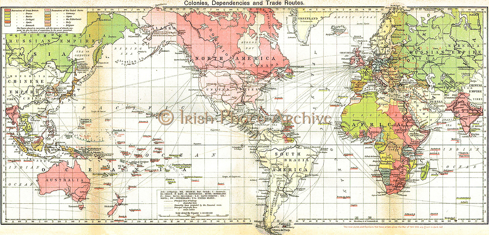Map of the British Empire 19th Century. Areas controlled by Britain are shaded in pink.