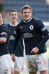 Falkirk's Willie Gibson celebrates after scoring their second goal..Falkirk 3 v 0 Queen of the South, 25/2/2012..© Michael Schofield.