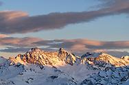 Piz d'Err, Calderas and Picuogl in the last sunlight of the day, Savognin, Parc Ela, Grisons, Switzerland