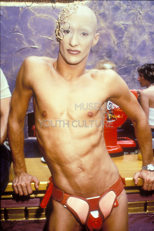 Bald and skinny clubber, Ibiza 1998