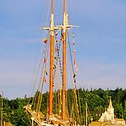 Schooner Heritage at anchor in Boothbay Harbor, Maine