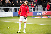 Salford City defender Oscar Threlkeld before the EFL Sky Bet League 2 match between Salford City and Macclesfield Town at the Peninsula Stadium, Salford, United Kingdom on 23 November 2019.