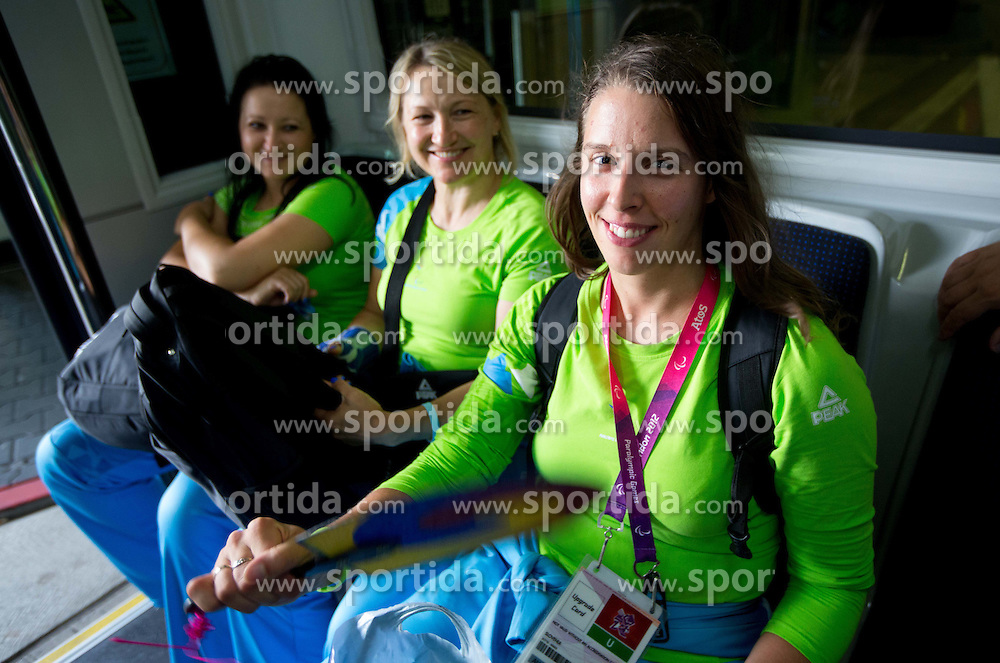 Suzana Ocepek, Marinka Cencelj and Spela Rozman of Team Slovenia at Airport in Frankfurt during way back to Airport Joze Pucnik after the London 2012 Paralympic Games on September 10, 2012, in Frankfurt, Germany. (Photo by Vid Ponikvar / Sportida.com)