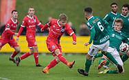 Jeppe Kjær (FC Helsingør) scorer sejrsmålet til 1-2 under kampen i 2. Division mellem Boldklubben Avarta og FC Helsingør den 10. november 2019 i Espelunden (Foto: Claus Birch).