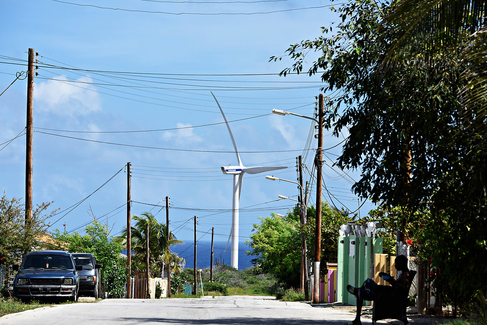 WILLEMSTAD, CURACAO - DECEMBER 10, 2014:  Windmills from a huge wind farm rises from the landscape near the Tera Kora region of Curacao. It has been supplying power to the island since 1993. (photo by Melissa Lyttle)