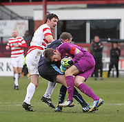 Hamilton&rsquo;s Michael McGovern grasps the ball as Dundee's David Clarkson challenges -  Dundee v Hamilton Academical, SPFL Premiership at Dens Park <br /> <br /> <br />  - &copy; David Young - www.davidyoungphoto.co.uk - email: davidyoungphoto@gmail.com