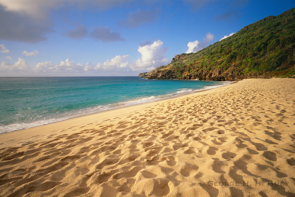 6208-1005B ~ Copyright: George H. H. Huey ~ Beach at Anse du Gouverneur, popular swimming/sunbathing spot. Island of St. Barts, Leeward Islands, Lesser Antilles, Caribbean.