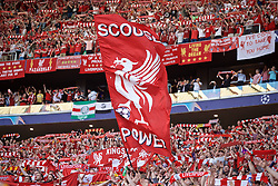 """MADRID, SPAIN - SATURDAY, JUNE 1, 2019: Liverpool supporters' banner """"Scouse power"""" before the UEFA Champions League Final match between Tottenham Hotspur FC and Liverpool FC at the Estadio Metropolitano. (Pic by David Rawcliffe/Propaganda)"""