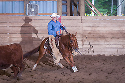 September 24, 2017 - Minshall Farm Cutting 6, held at Minshall Farms, Hillsburgh Ontario. The event was put on by the Ontario Cutting Horse Association. Riding in the $2,000 Limited Rider Class is Rheal Bourgeois on Smart N Prime owned by the rider.
