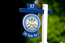 May 15, 2019 - Farmingdale, NY, U.S. - FARMINGDALE, NY - MAY 15:  A general view of the 17th hole sign during the PGA Championship on May 15, 2019 at Bethpage State Park the Black Course in Farmingdale, NY.  (Photo by Rich Graessle/Icon Sportswire) (Credit Image: © Rich Graessle/Icon SMI via ZUMA Press)