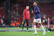 Arsenal forward Pierre-Emerick Aubameyang (14) warms up prior to the Europa League group stage match between Arsenal and FC Voskla Potlava at the Emirates Stadium, London, England on 20 September 2018.