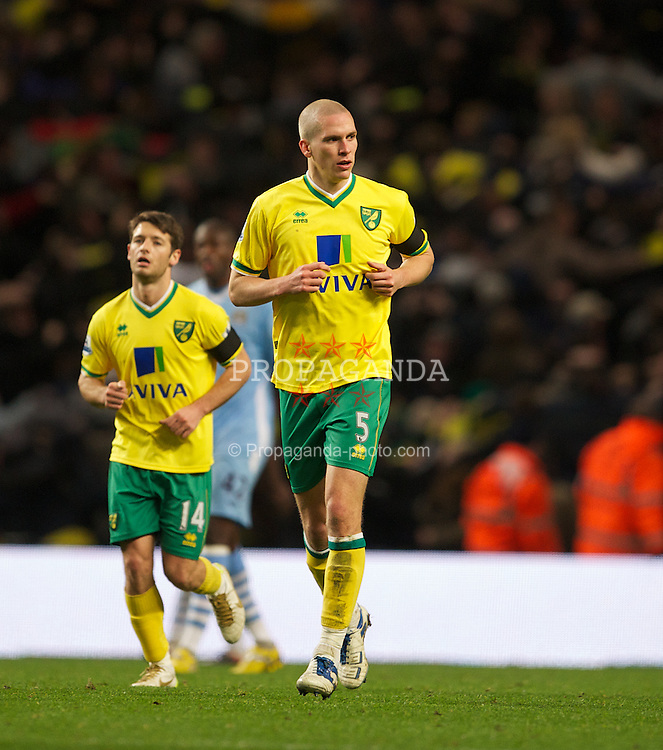 MANCHESTER, ENGLAND - Saturday, December 3, 2011: Norwich City's Steve Morison after scoring their only goal during a 5-1 Premiership defeat to Manchester City at City of Manchester Stadium. (Pic by David Rawcliffe/Propaganda)