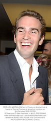 FRITZ VON WESTENHOLZ son of Piers von Westenholz a friend of Prince Charles, at a party in London on 3rd October 2002.	PDT 221