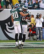 Kevin Curtis and Brian Westbrook celebrate a touchdown during the game between the Philadelphia Eagles and the Atlanta Falcons at Lincoln Financial Field in Philadelphia, Pennsylvania on October 26, 2008.