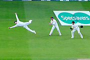 Wicket - Steve Smith of Australia takes a spectacular catch to dismiss Chris Woakes of England off the bowling of Mitchell Marsh of Australia during the 5th International Test Match 2019 match between England and Australia at the Oval, London, United Kingdom on 14 September 2019.
