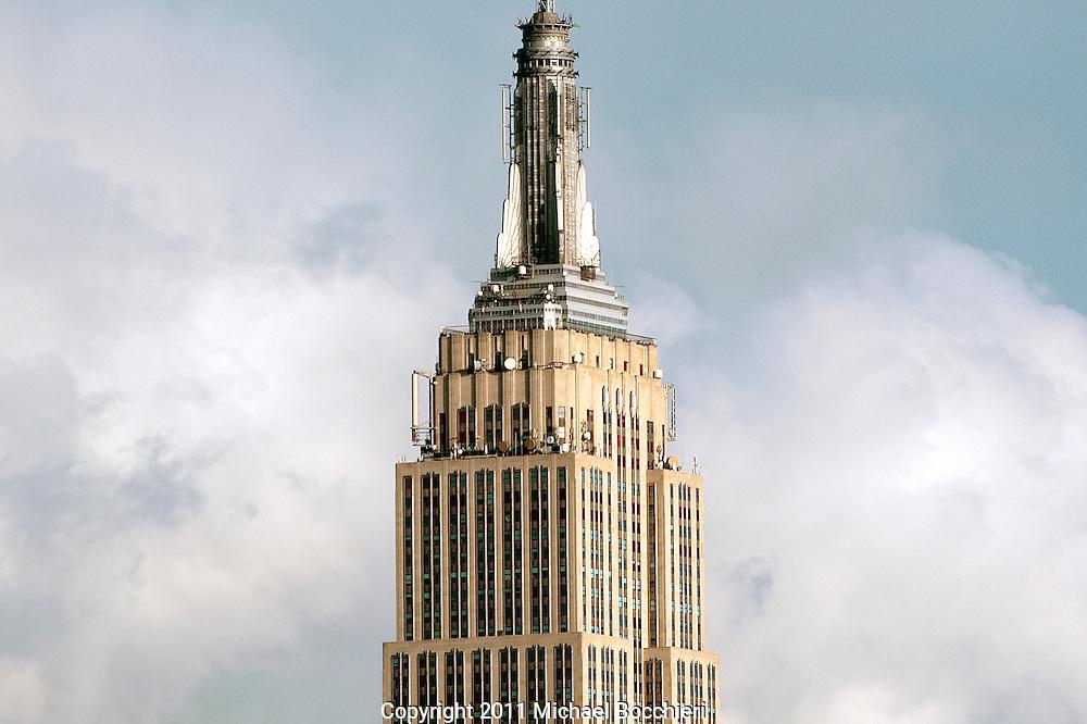 HOBOKEN, NJ - November 10:  Empire State Building in Manhattan on November 10, 2011 in HOBOKEN, NJ.  (Photo by Michael Bocchieri/Bocchieri Archive)