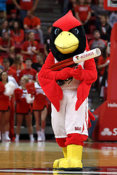 14 November 2016:  Reggie Redbird looks to shoot someone a free tshirt during an NCAA  mens basketball game between the Indiana Purdue Fort Wayne Mastodons the Illinois State Redbirds in Redbird Arena, Normal IL