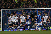 Everton defender Ramiro Funes Mori  after his attempt at goal went close during the Barclays Premier League match between Everton and Tottenham Hotspur at Goodison Park, Liverpool, England on 3 January 2016. Photo by Simon Davies.