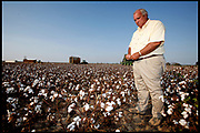 Billy Joe Ragland inspects his cotton as a harvester goes through drought damaged cotton fields on September 16, 2006. The plants are too small to be picked efficiently, reducing the harvest by 30%.